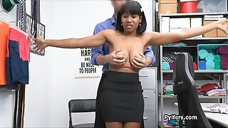 Busty ebony suspect gags in the backroom