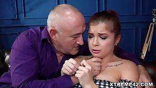 Sad Renata Fox consoled by old fart